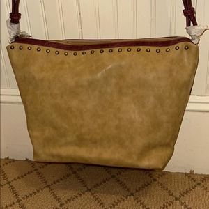 Camel brown sueded tote with cognac leather trim